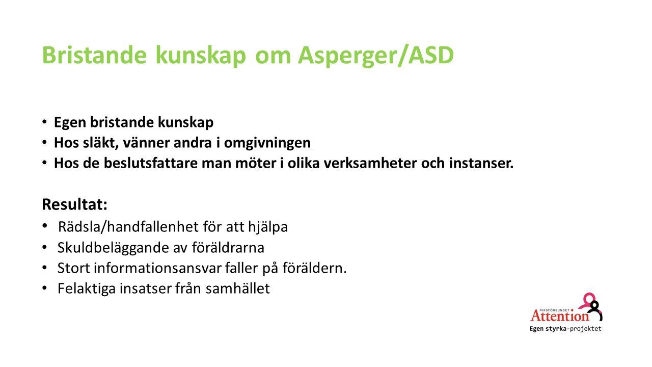 Bristande kunskap om Asperger/ASD Egen bristande kunskap Hos släkt, vänner andra i omgivningen Hos de beslutsfattare man möter i olika verksamheter och instanser.
