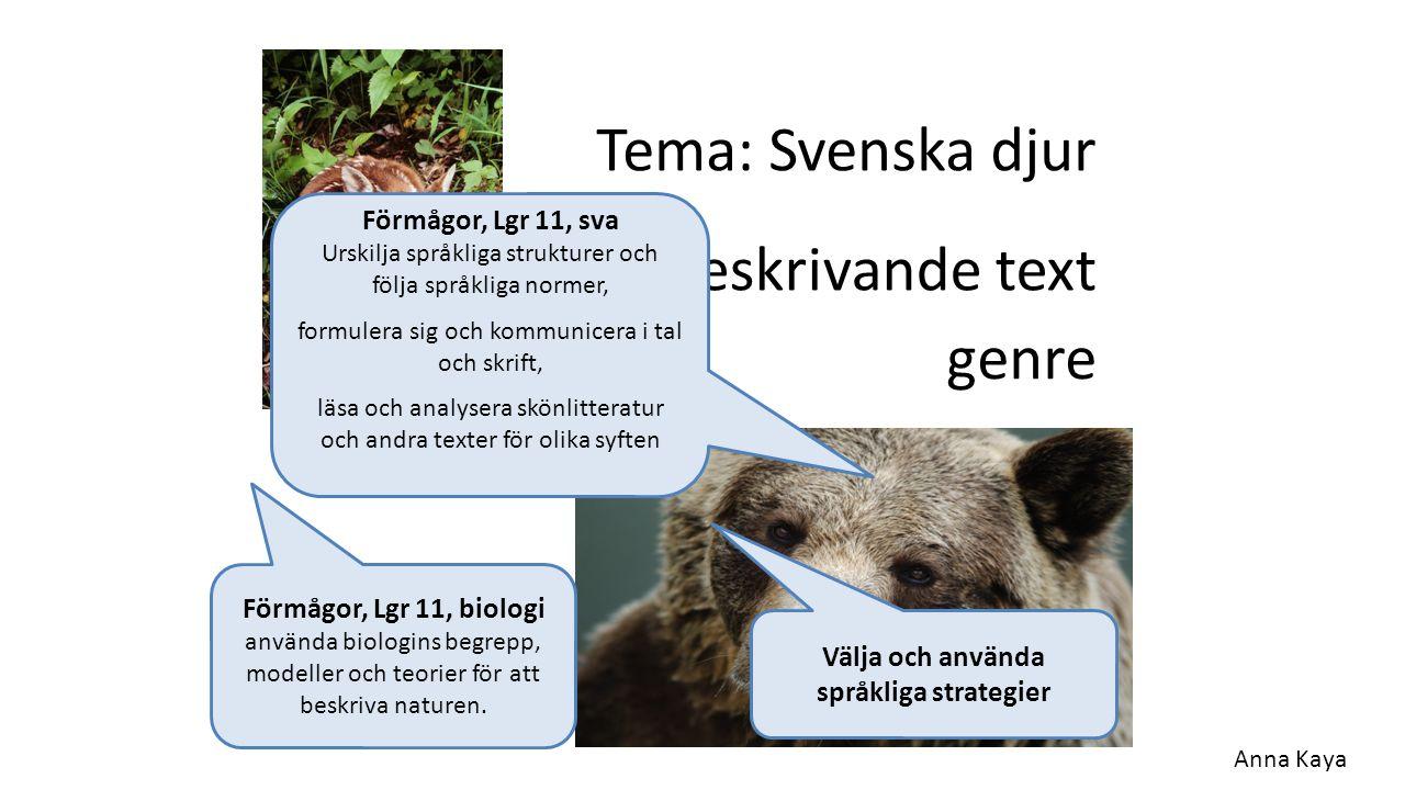 Tema: Svenska djur Beskrivande text Förmågor, Lgr 11, biologi använda biologins begrepp, modeller och teorier för att beskriva naturen. genre Förmågor
