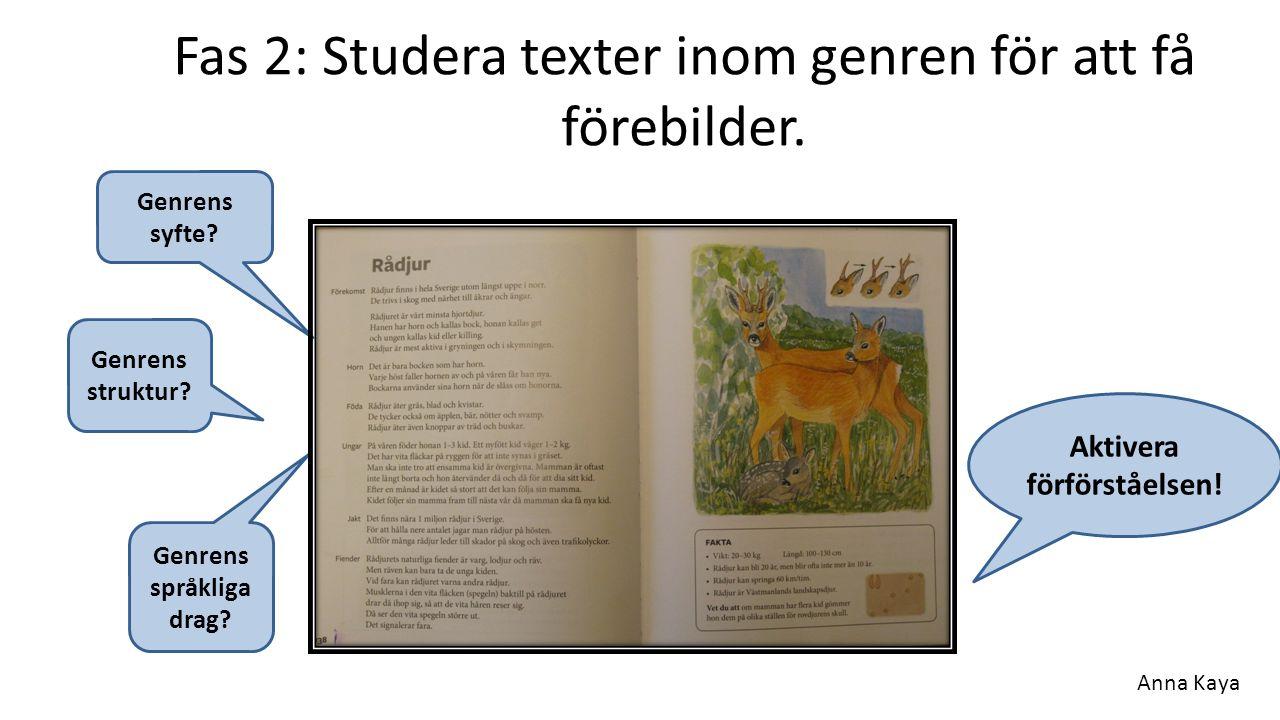 Fas 2: Studera texter inom genren för att få förebilder. Genrens syfte? Genrens struktur? Genrens språkliga drag? Aktivera förförståelsen! Anna Kaya