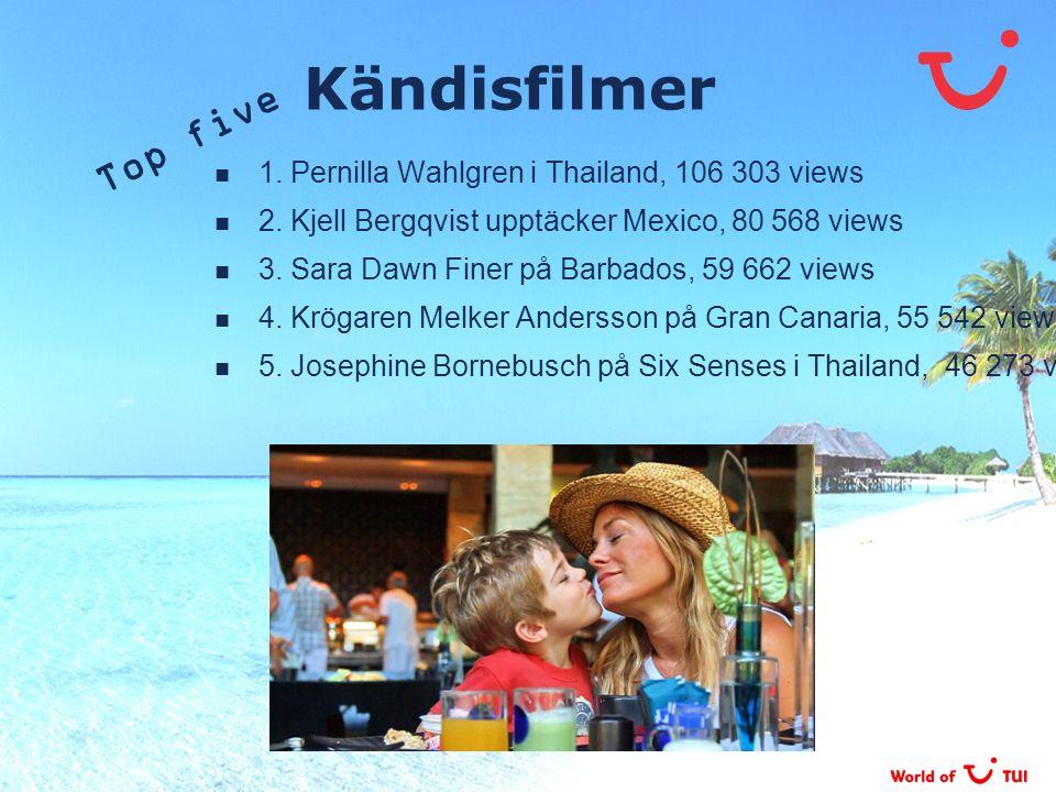 Kändisfilmer 1. Pernilla Wahlgren i Thailand, 106 303 views 2. Kjell Bergqvist upptäcker Mexico, 80 568 views 3. Sara Dawn Finer på Barbados, 59 662 v