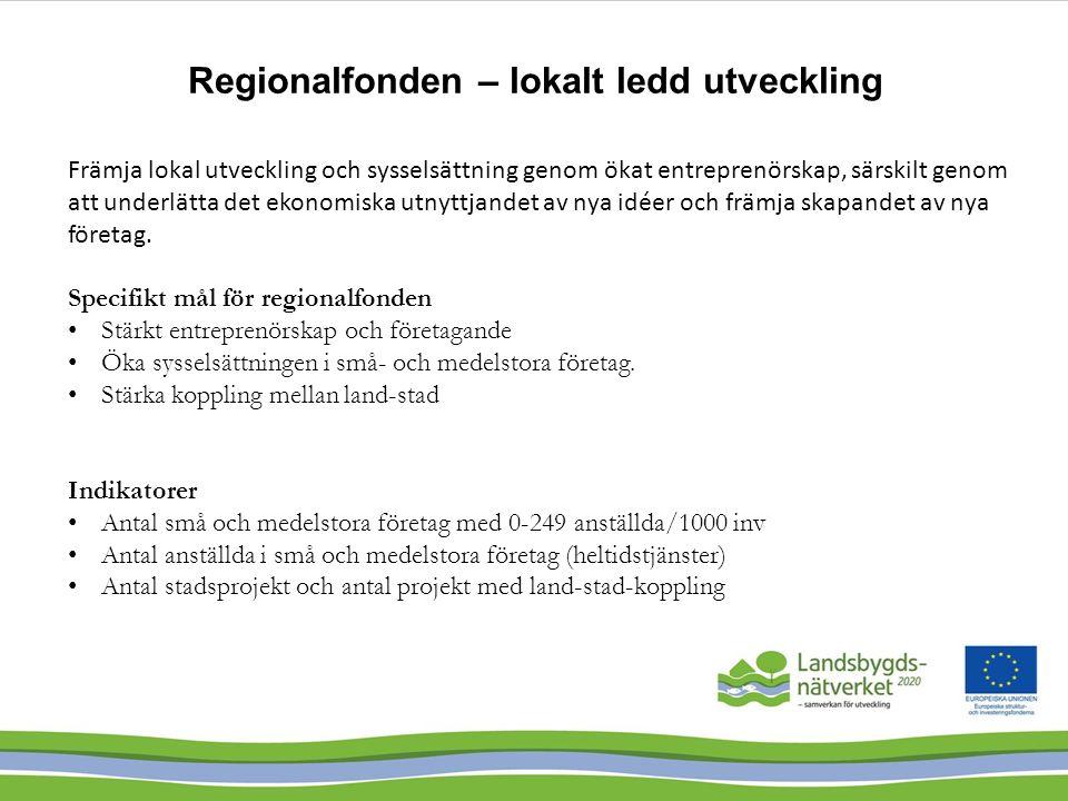 Regionalfonden – lokalt ledd utveckling Främja lokal utveckling och sysselsättning genom ökat entreprenörskap, särskilt genom att underlätta det ekono
