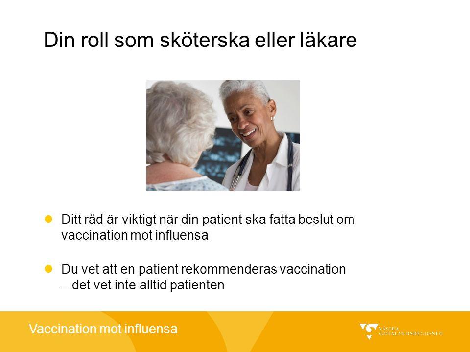 Vaccination mot influensa Din roll som sköterska eller läkare Ditt råd är viktigt när din patient ska fatta beslut om vaccination mot influensa Du vet