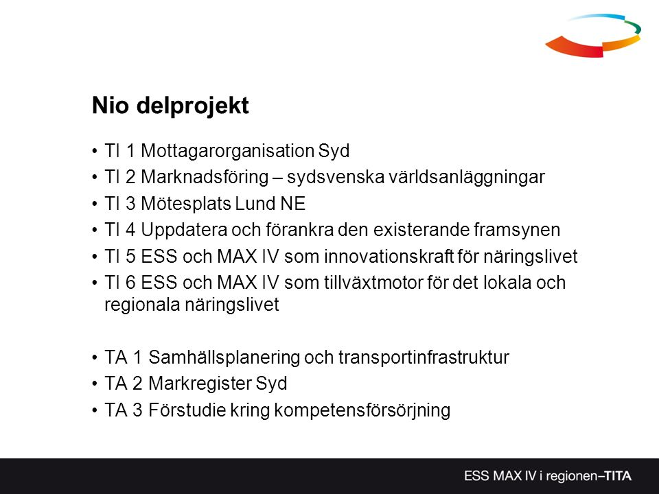 Nio delprojekt TI 1 Mottagarorganisation Syd TI 2 Marknadsföring – sydsvenska världsanläggningar TI 3 Mötesplats Lund NE TI 4 Uppdatera och förankra den existerande framsynen TI 5 ESS och MAX IV som innovationskraft för näringslivet TI 6 ESS och MAX IV som tillväxtmotor för det lokala och regionala näringslivet TA 1 Samhällsplanering och transportinfrastruktur TA 2 Markregister Syd TA 3 Förstudie kring kompetensförsörjning
