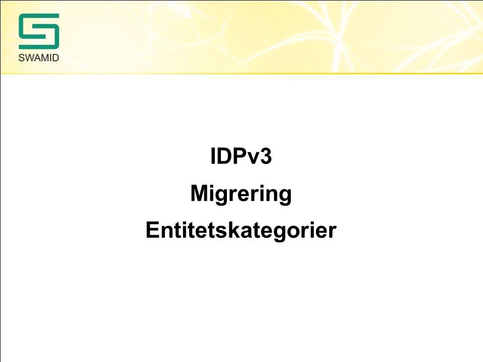 IDPv3 Dags att sätta upp en testmiljö för IDPv3 snarast Uppdateringar till IDPv2 kommer att upphöra 2015-12-31 Kritiska säkerhetsuppdateringar till IDPv2 kommer att upphöra 2016-07-31 Login handler för tvåfaktor via eduID kommer under Q1, denna kommer ej att fungera med IDPv2 IDPv3 har inbyggt stöd för CAS-protokollet