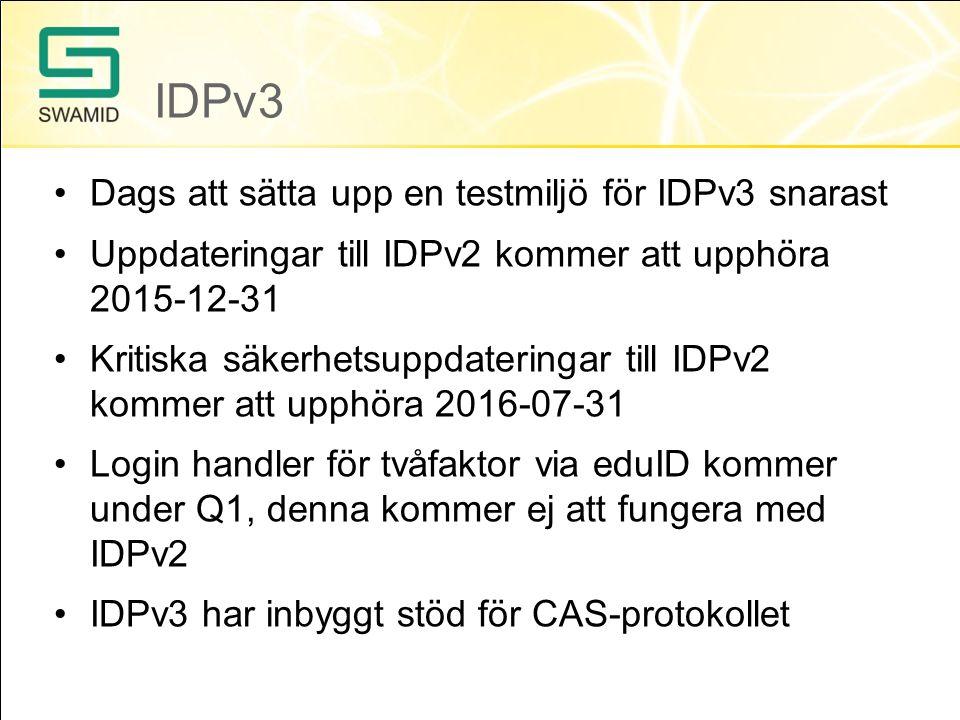 Migrering Rekommendation från SWAMID Använd den officiella idp-installern Kolla upp era IDP certifikat, key rollover skall göras vart femte år