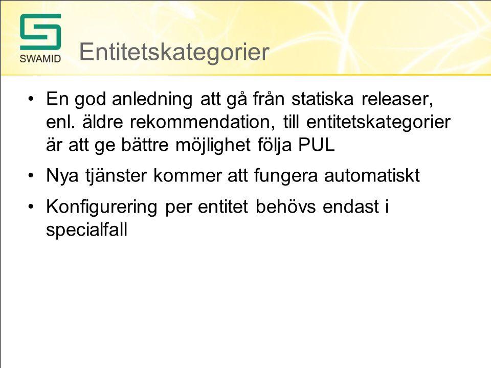 Entitetskategorier En god anledning att gå från statiska releaser, enl.