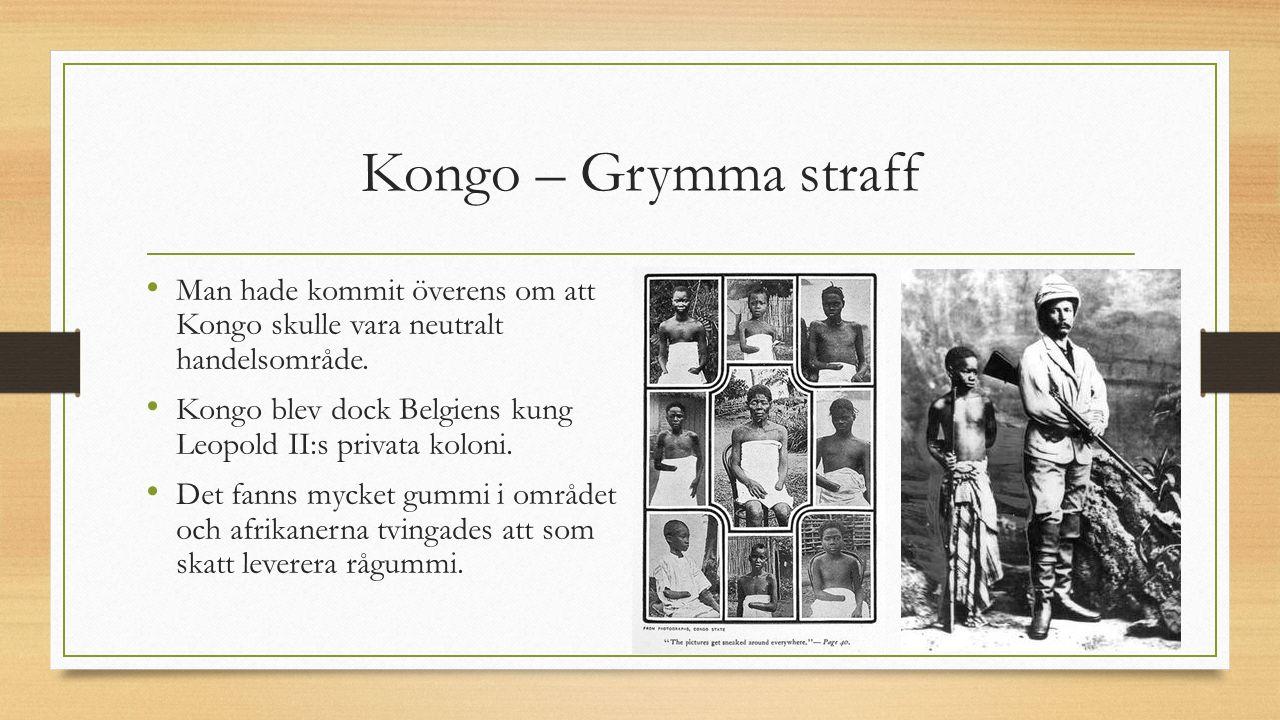 Kongo – Grymma straff Man hade kommit överens om att Kongo skulle vara neutralt handelsområde. Kongo blev dock Belgiens kung Leopold II:s privata kolo