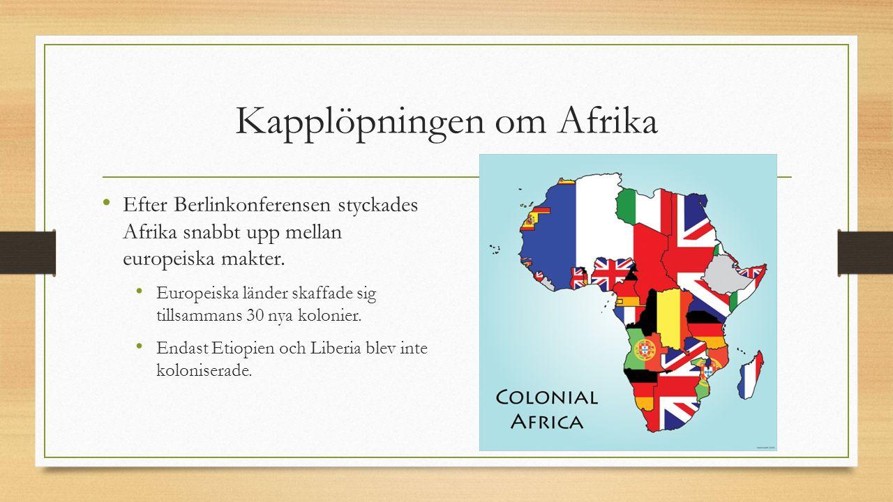 Kapplöpningen om Afrika Efter Berlinkonferensen styckades Afrika snabbt upp mellan europeiska makter. Europeiska länder skaffade sig tillsammans 30 ny