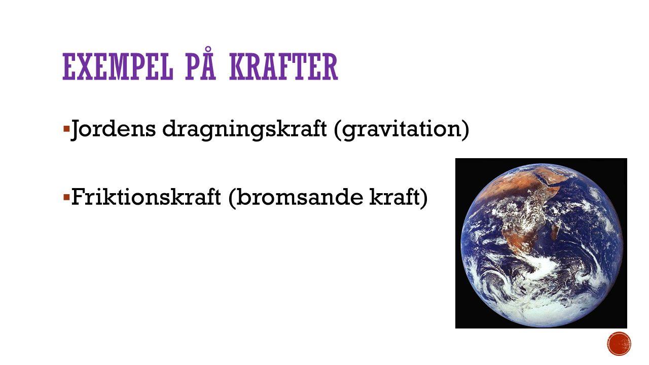 EXEMPEL PÅ KRAFTER  Jordens dragningskraft (gravitation)  Friktionskraft (bromsande kraft)