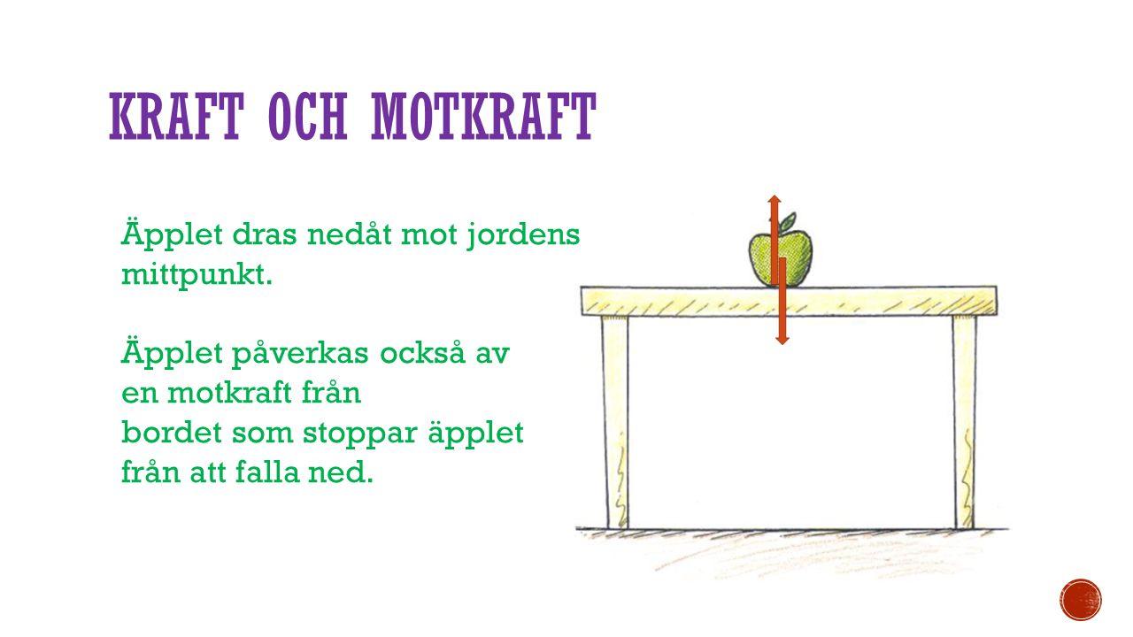 KRAFT OCH MOTKRAFT Äpplet dras nedåt mot jordens mittpunkt. Äpplet påverkas också av en motkraft från bordet som stoppar äpplet från att falla ned.