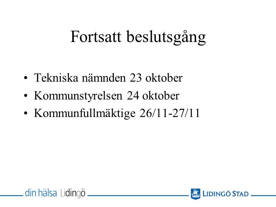 Fortsatt beslutsgång Tekniska nämnden 23 oktober Kommunstyrelsen 24 oktober Kommunfullmäktige 26/11-27/11
