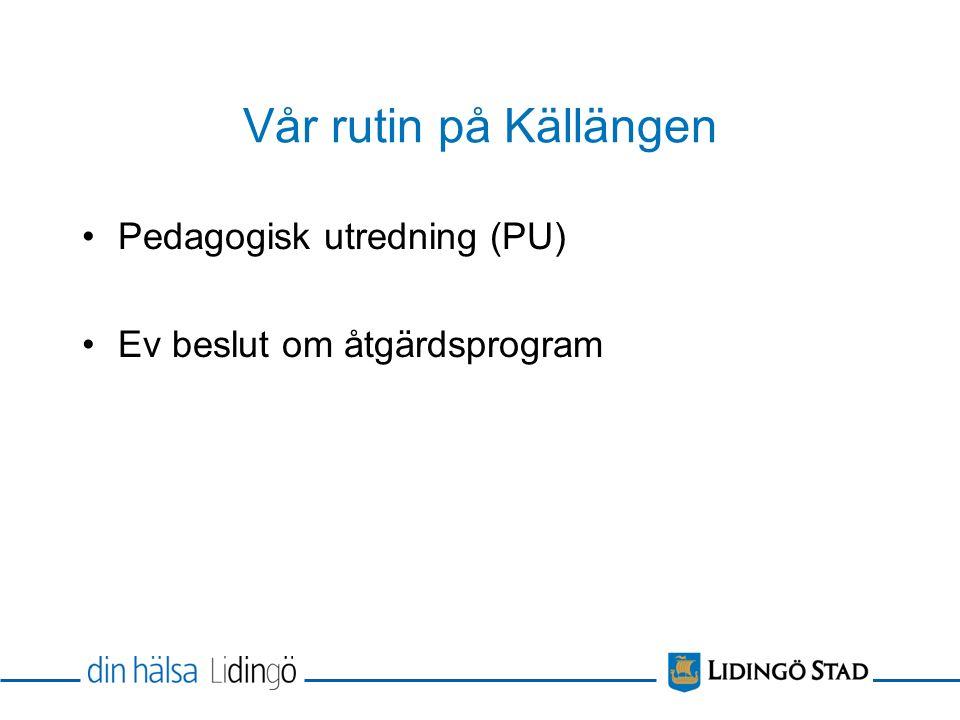 Vår rutin på Källängen Pedagogisk utredning (PU) Ev beslut om åtgärdsprogram