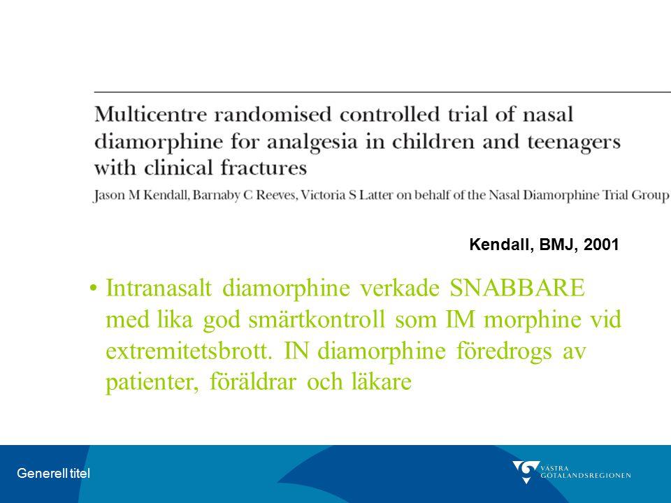 Generell titel Kendall, BMJ, 2001 Intranasalt diamorphine verkade SNABBARE med lika god smärtkontroll som IM morphine vid extremitetsbrott. IN diamorp