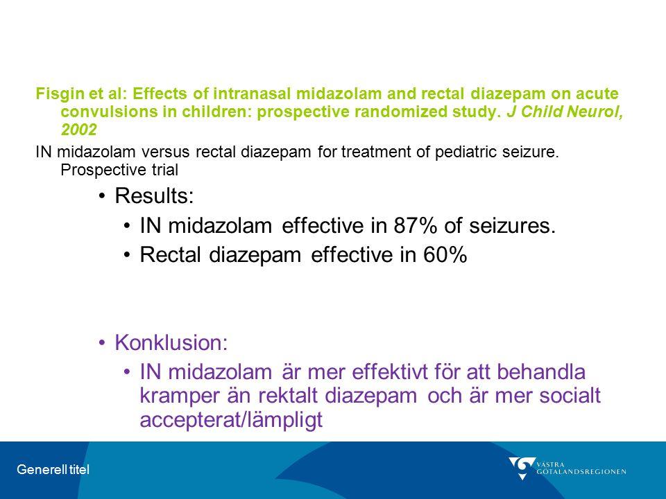 Generell titel Fisgin et al: Effects of intranasal midazolam and rectal diazepam on acute convulsions in children: prospective randomized study. J Chi