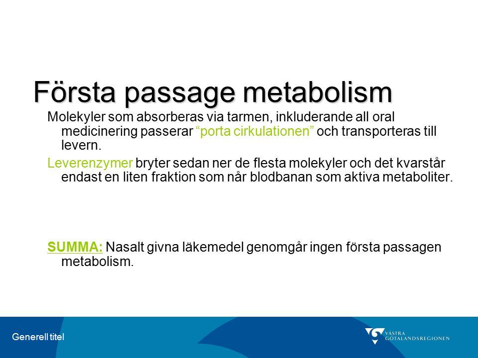 """Generell titel Första passage metabolism Molekyler som absorberas via tarmen, inkluderande all oral medicinering passerar """"porta cirkulationen"""" och tr"""