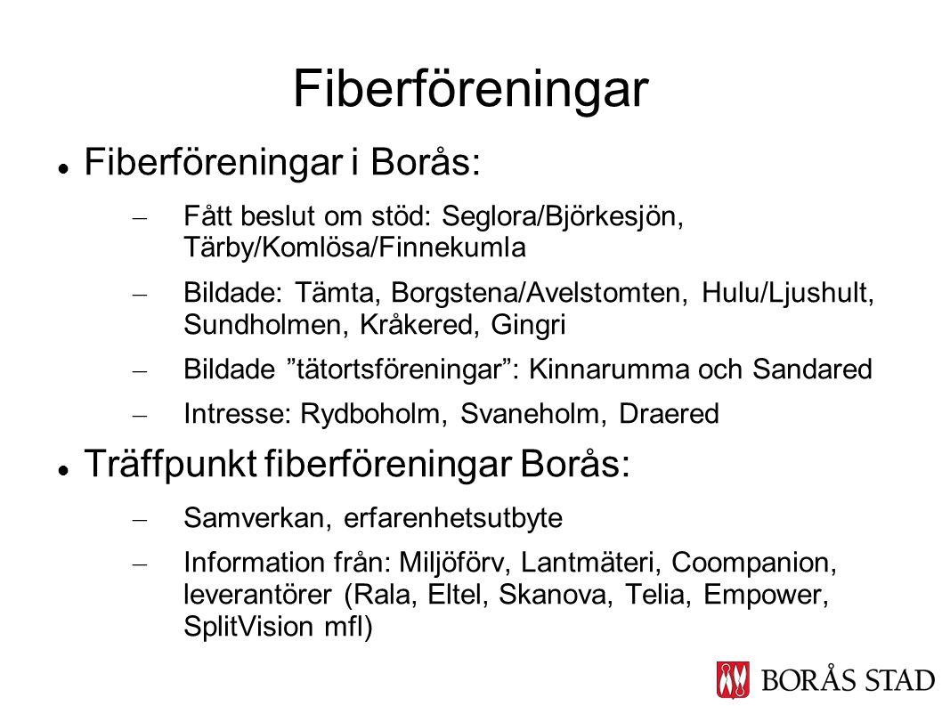 Fiberföreningar i Borås: – Fått beslut om stöd: Seglora/Björkesjön, Tärby/Komlösa/Finnekumla – Bildade: Tämta, Borgstena/Avelstomten, Hulu/Ljushult, S