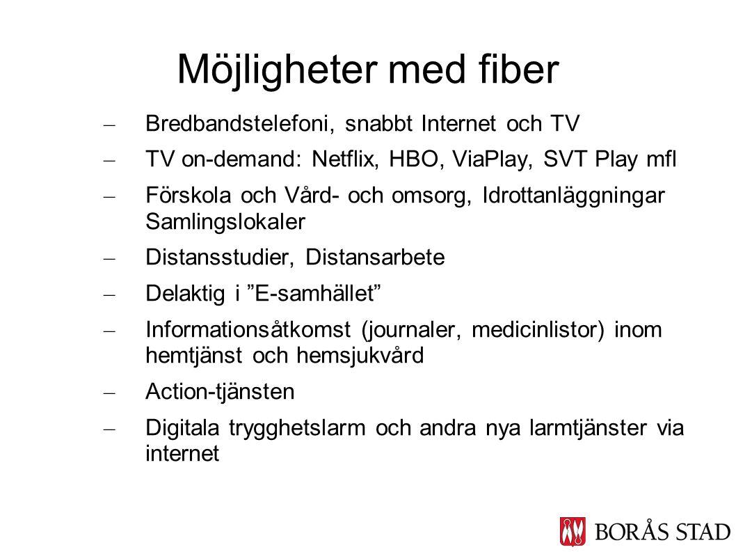 – Bredbandstelefoni, snabbt Internet och TV – TV on-demand: Netflix, HBO, ViaPlay, SVT Play mfl – Förskola och Vård- och omsorg, Idrottanläggningar Sa
