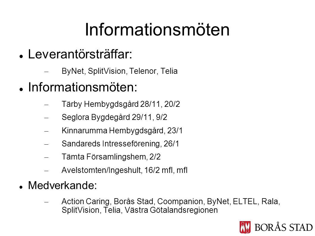 Leverantörsträffar: – ByNet, SplitVision, Telenor, Telia Informationsmöten: – Tärby Hembygdsgård 28/11, 20/2 – Seglora Bygdegård 29/11, 9/2 – Kinnarum