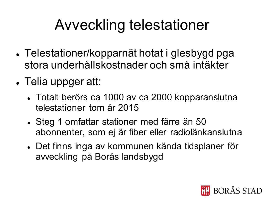 Telestationer/kopparnät hotat i glesbygd pga stora underhållskostnader och små intäkter Telia uppger att: Totalt berörs ca 1000 av ca 2000 kopparanslu