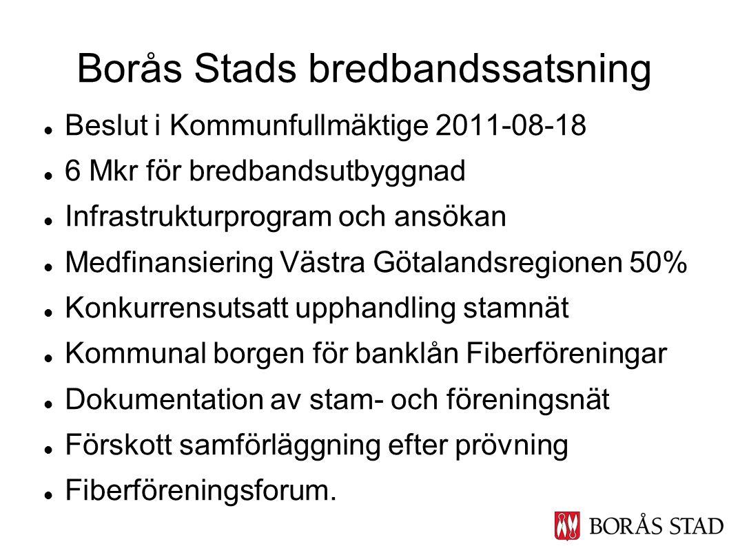 Beslut i Kommunfullmäktige 2011-08-18 6 Mkr för bredbandsutbyggnad Infrastrukturprogram och ansökan Medfinansiering Västra Götalandsregionen 50% Konku