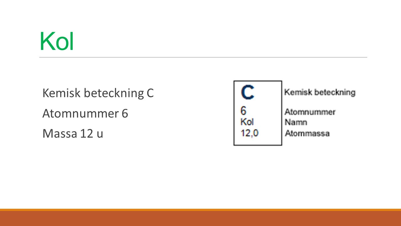 Kol Kemisk beteckning C Atomnummer 6 Massa 12 u
