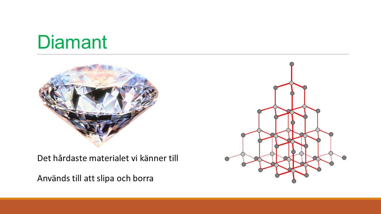 Diamant Det hårdaste materialet vi känner till Används till att slipa och borra