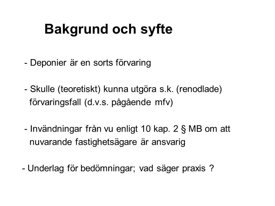Bakgrund och syfte - Deponier är en sorts förvaring - Skulle (teoretiskt) kunna utgöra s.k.