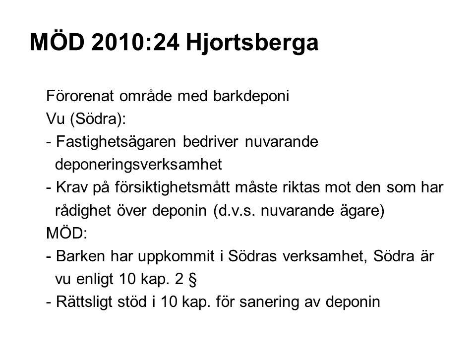 MÖD 2010:24 Hjortsberga Förorenat område med barkdeponi Vu (Södra): - Fastighetsägaren bedriver nuvarande deponeringsverksamhet - Krav på försiktighetsmått måste riktas mot den som har rådighet över deponin (d.v.s.