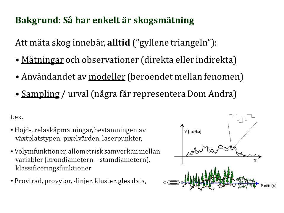 """Bakgrund: Så har enkelt är skogsmätning Att mäta skog innebär, alltid (""""gyllene triangeln""""): Mätningar och observationer (direkta eller indirekta) Anv"""
