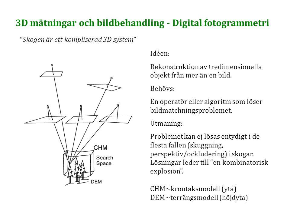 """3D mätningar och bildbehandling - Digital fotogrammetri """"Skogen är ett kompliserad 3D system"""" Idéen: Rekonstruktion av tredimensionella objekt från me"""