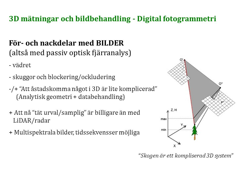 """För- och nackdelar med BILDER (altså med passiv optisk fjärranalys) - vädret - skuggor och blockering/ockludering -/+ """"Att åstadskomma något i 3D är l"""