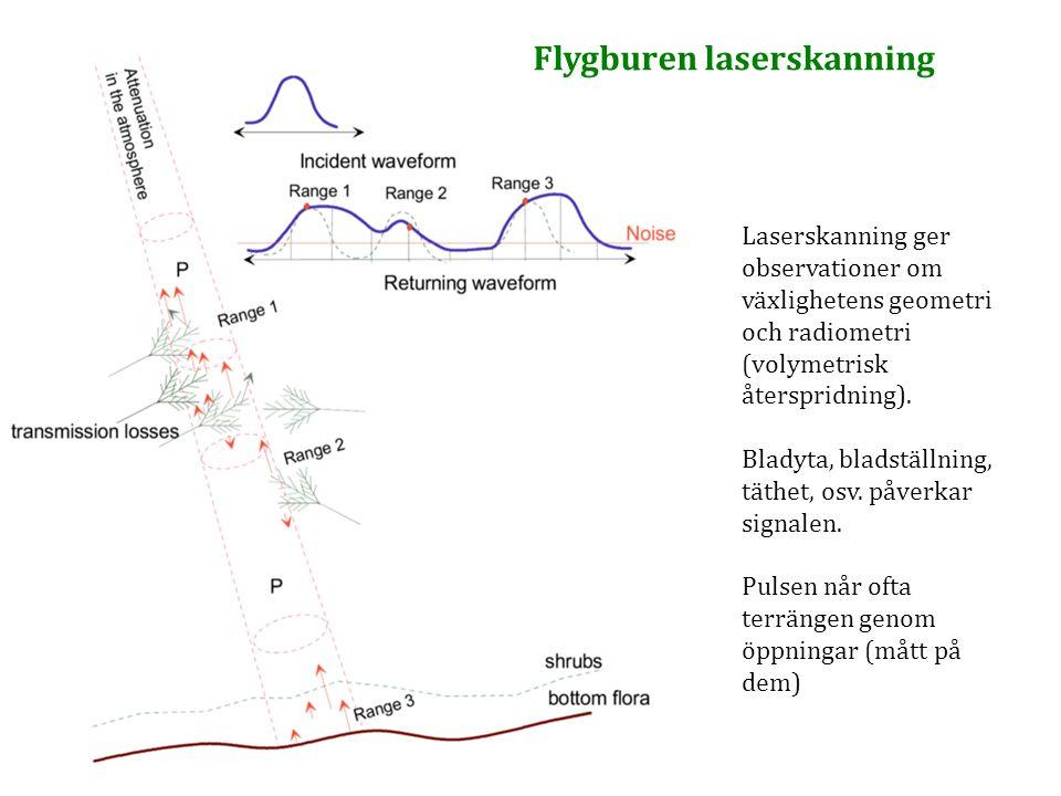 Laserskanning ger observationer om växlighetens geometri och radiometri (volymetrisk återspridning). Bladyta, bladställning, täthet, osv. påverkar sig