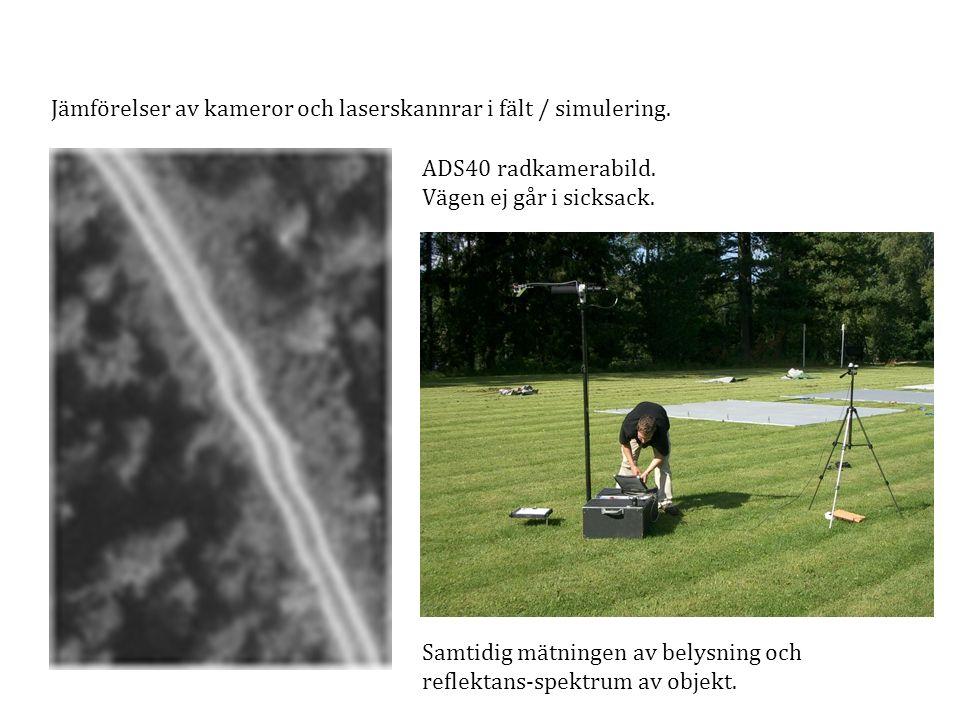 Jämförelser av kameror och laserskannrar i fält / simulering. ADS40 radkamerabild. Vägen ej går i sicksack. Samtidig mätningen av belysning och reflek