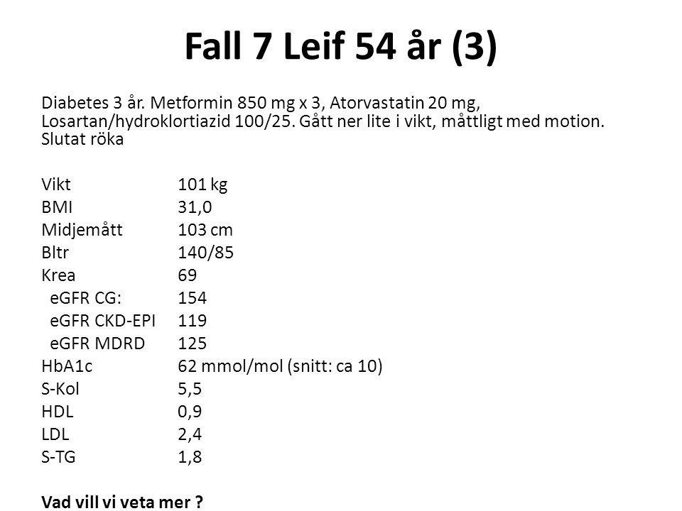 Fall 7 Leif 54 år (3) Diabetes 3 år. Metformin 850 mg x 3, Atorvastatin 20 mg, Losartan/hydroklortiazid 100/25. Gått ner lite i vikt, måttligt med mot