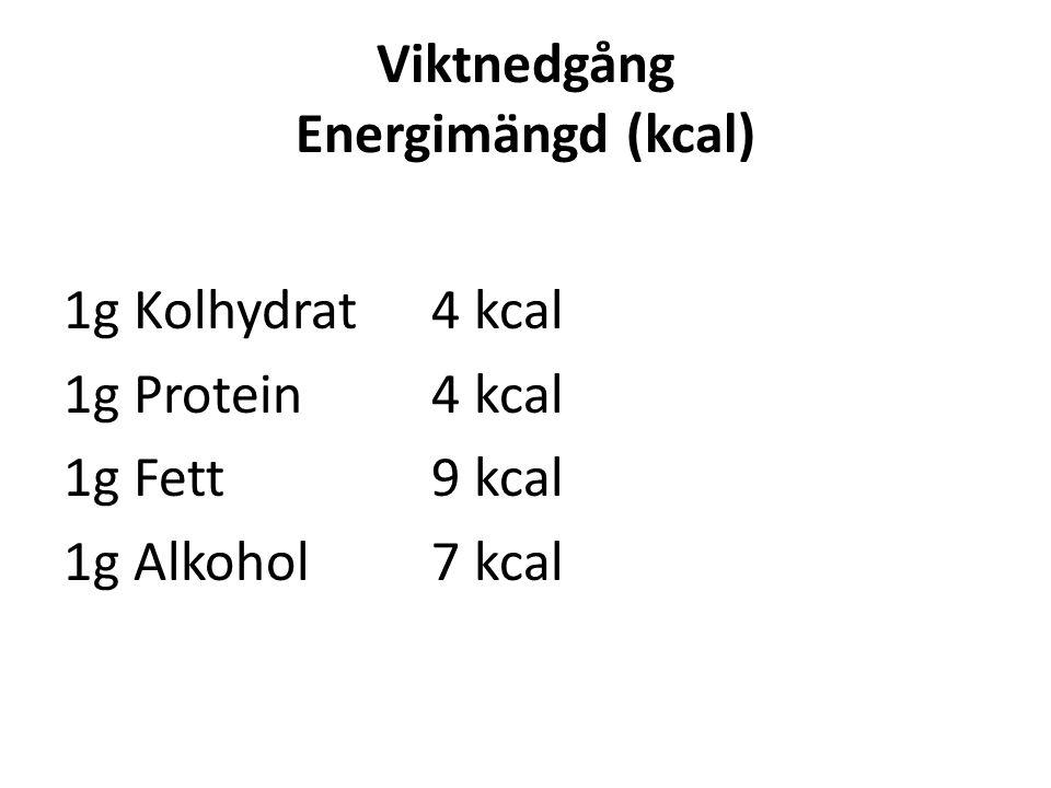 Viktnedgång Energimängd (kcal) 1g Kolhydrat4 kcal 1g Protein4 kcal 1g Fett9 kcal 1g Alkohol7 kcal