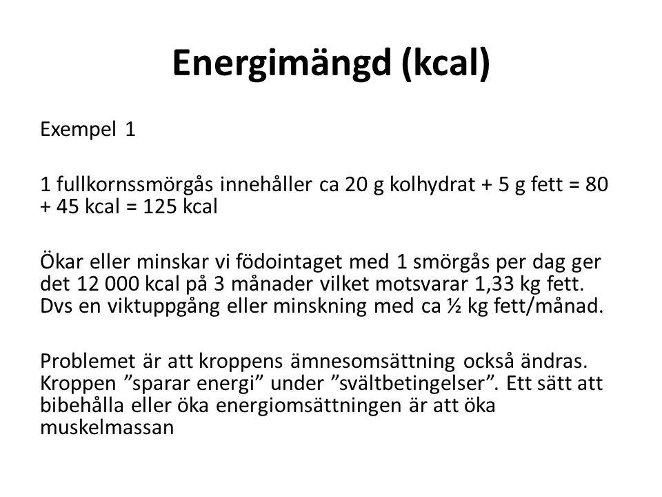 Energimängd (kcal) Exempel 1 1 fullkornssmörgås innehåller ca 20 g kolhydrat + 5 g fett = 80 + 45 kcal = 125 kcal Ökar eller minskar vi födointaget me