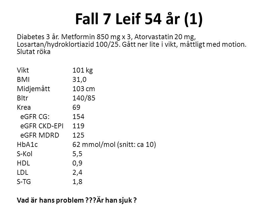 Fall 7 Leif 54 år (1) Diabetes 3 år. Metformin 850 mg x 3, Atorvastatin 20 mg, Losartan/hydroklortiazid 100/25. Gått ner lite i vikt, måttligt med mot