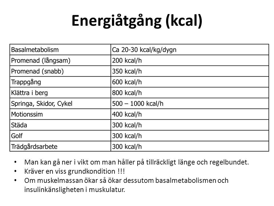 Energiåtgång (kcal) Man kan gå ner i vikt om man håller på tillräckligt länge och regelbundet. Kräver en viss grundkondition !!! Om muskelmassan ökar