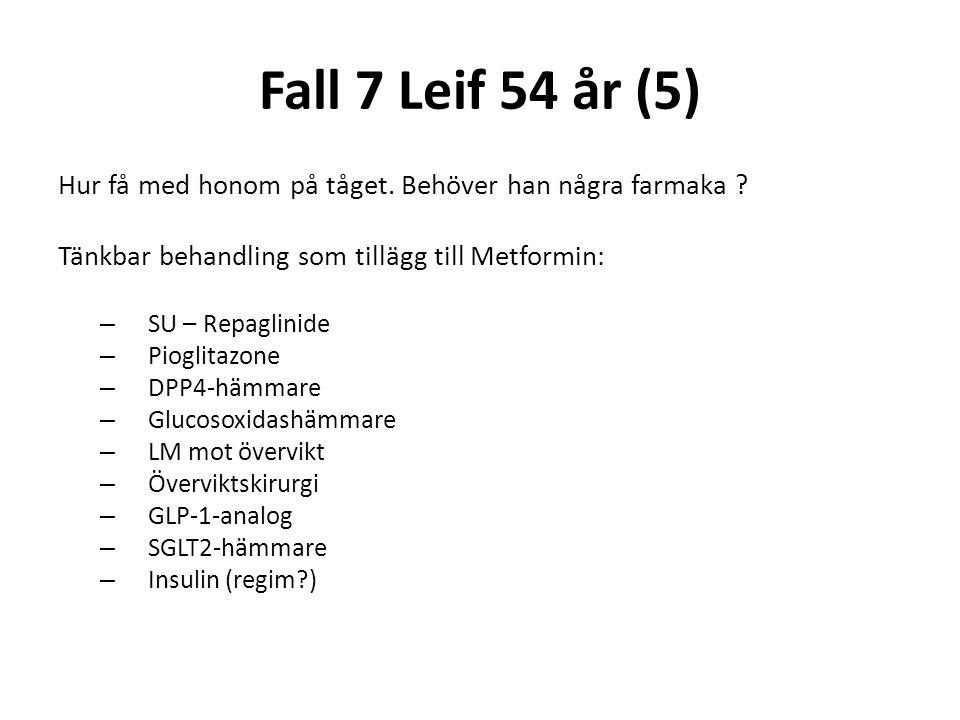 Fall 7 Leif 54 år (5) Hur få med honom på tåget. Behöver han några farmaka ? Tänkbar behandling som tillägg till Metformin: – SU – Repaglinide – Piogl