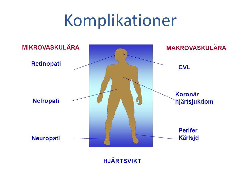Retinopati Nefropati Neuropati MIKROVASKULÄRA MAKROVASKULÄRA CVL Koronär hjärtsjukdom Perifer Kärlsjd HJÄRTSVIKT Komplikationer