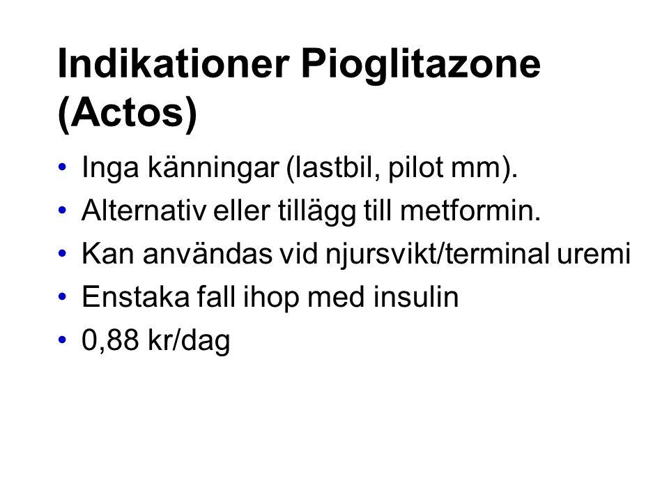 Indikationer Pioglitazone (Actos) Inga känningar (lastbil, pilot mm). Alternativ eller tillägg till metformin. Kan användas vid njursvikt/terminal ure