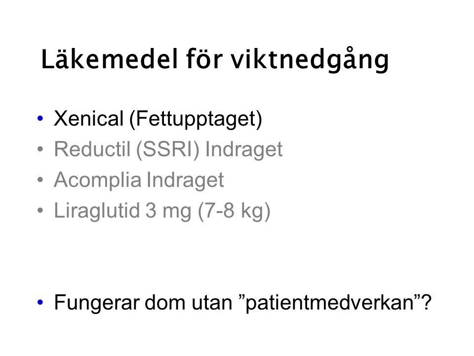 """Läkemedel för viktnedgång Xenical (Fettupptaget) Reductil (SSRI) Indraget Acomplia Indraget Liraglutid 3 mg (7-8 kg) Fungerar dom utan """"patientmedverk"""
