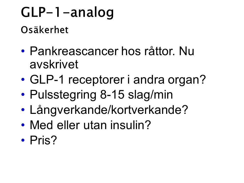 GLP-1-analog Osäkerhet Pankreascancer hos råttor. Nu avskrivet GLP-1 receptorer i andra organ? Pulsstegring 8-15 slag/min Långverkande/kortverkande? M