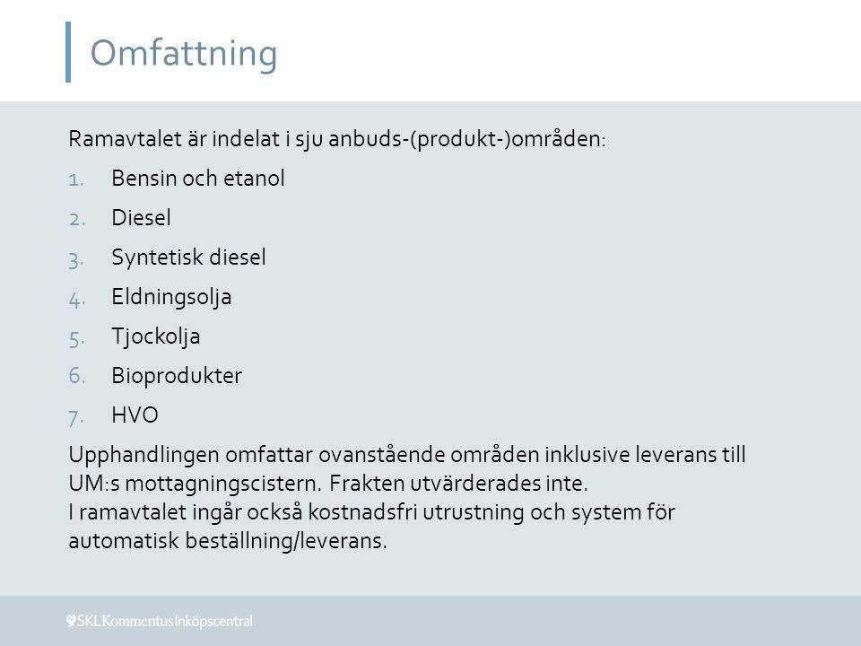 Omfattning Ramavtalet är indelat i sju anbuds-(produkt-)områden: 1.Bensin och etanol 2.Diesel 3.Syntetisk diesel 4.Eldningsolja 5.Tjockolja 6.Bioprodu