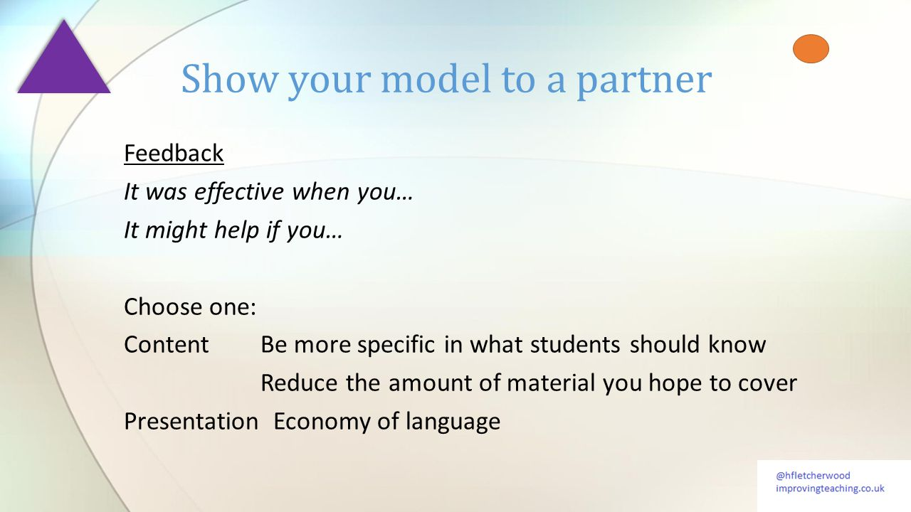 Feedback It was effective when you… It might help if you… Choose one: ContentBe more specific in what students should know Reduce the amount of material you hope to cover Presentation Economy of language Show your model to a partner