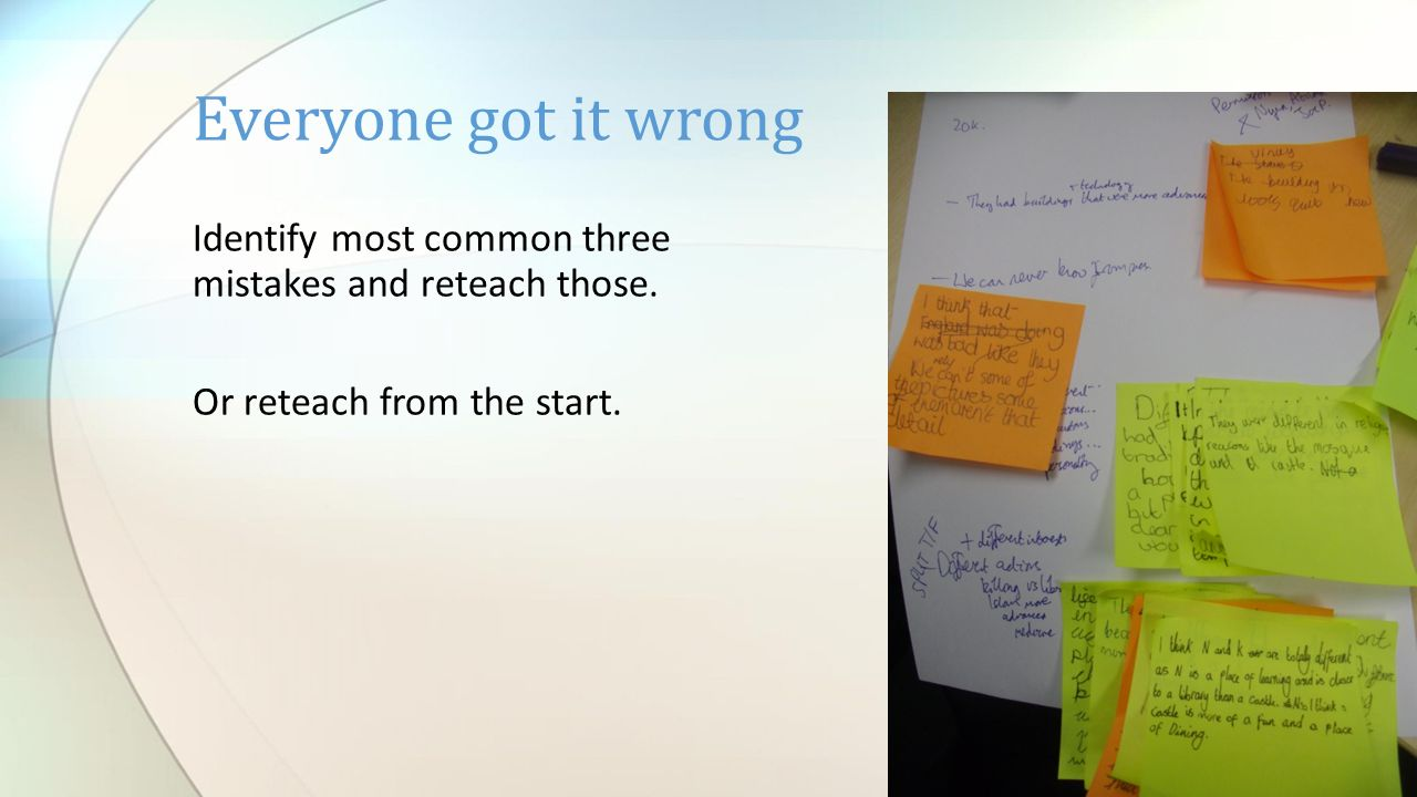 Identify most common three mistakes and reteach those. Or reteach from the start. Everyone got it wrong
