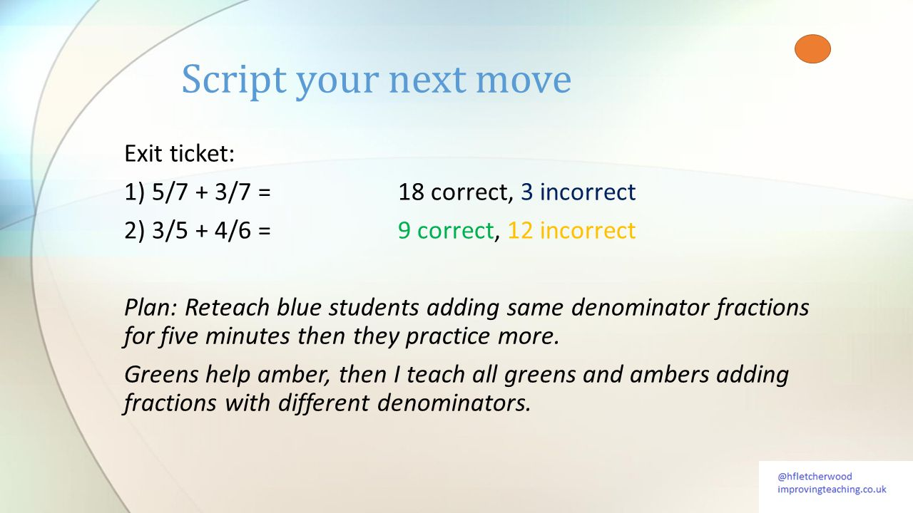 Exit ticket: 1) 5/7 + 3/7 =18 correct, 3 incorrect 2) 3/5 + 4/6 =9 correct, 12 incorrect Plan: Reteach blue students adding same denominator fractions for five minutes then they practice more.