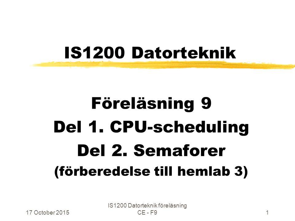 17 October 2015 IS1200 Datorteknik föreläsning CE - F952 Ömsesidig uteslutning P1 i T1 kritisk liksom P2 i T2 … wait P1: … signal … wait P2: signal … T1: T2: P1 Och P2 får inte exekveras samtidigt