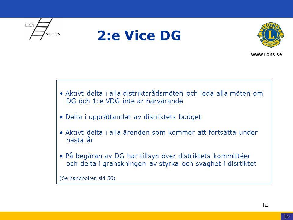 www.lions.se 14 2:e Vice DG Aktivt delta i alla distriktsrådsmöten och leda alla möten om DG och 1:e VDG inte är närvarande Delta i upprättandet av distriktets budget Aktivt delta i alla ärenden som kommer att fortsätta under nästa år På begäran av DG har tillsyn över distriktets kommittéer och delta i granskningen av styrka och svaghet i disrtiktet (Se handboken sid 56)