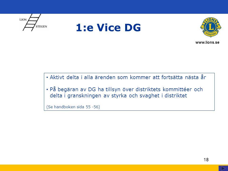 www.lions.se 18 1:e Vice DG Aktivt delta i alla ärenden som kommer att fortsätta nästa år På begäran av DG ha tillsyn över distriktets kommittéer och delta i granskningen av styrka och svaghet i distriktet (Se handboken sida 55 -56)
